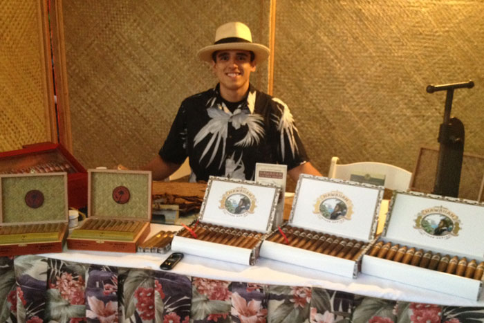 The rolling table, with a variety of our cigars ready for the guests to light up.