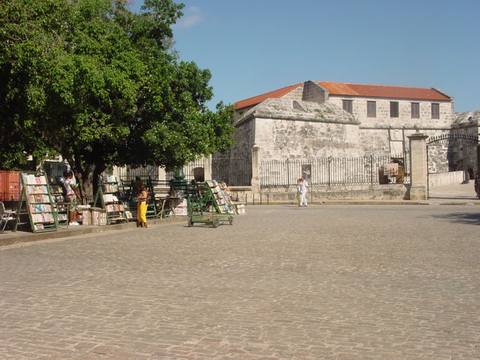 Quiet public park space near the National Museum. Books are still being made by hand in Cuba, and many are sold on the street.